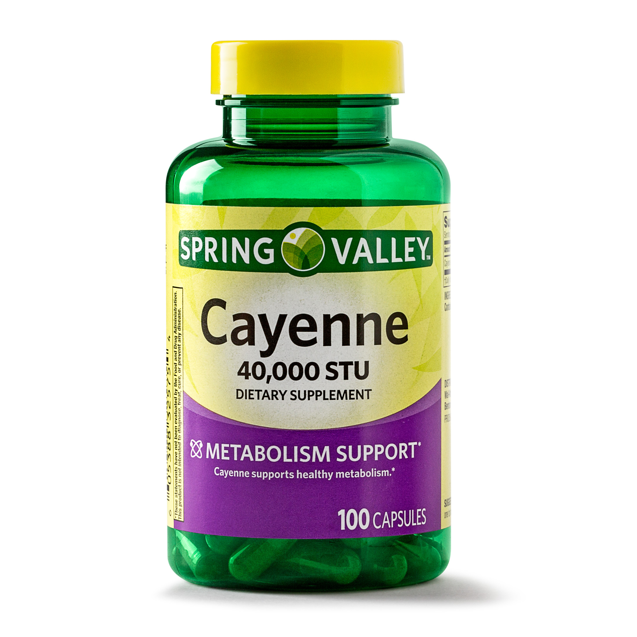 Spring Valley Cayenne Capsules, 40000 STU, 100 Ct