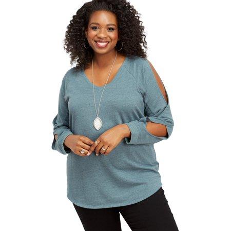 1187e82febc36 maurices - Plus Size Slit Sleeve Pullover Sweatshirt - Walmart.com
