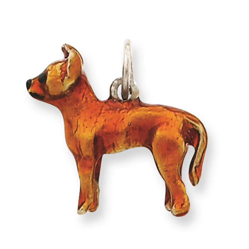 925 Sterling Silver 3-D Enameled Full Chihuahua Solid Charm Pendant