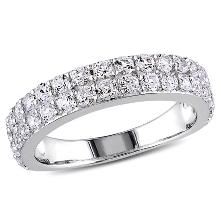 1.50 Carat (ctw)  Lab Created White Sapphire Anniversary Ring Band In Sterling - Cts Lab