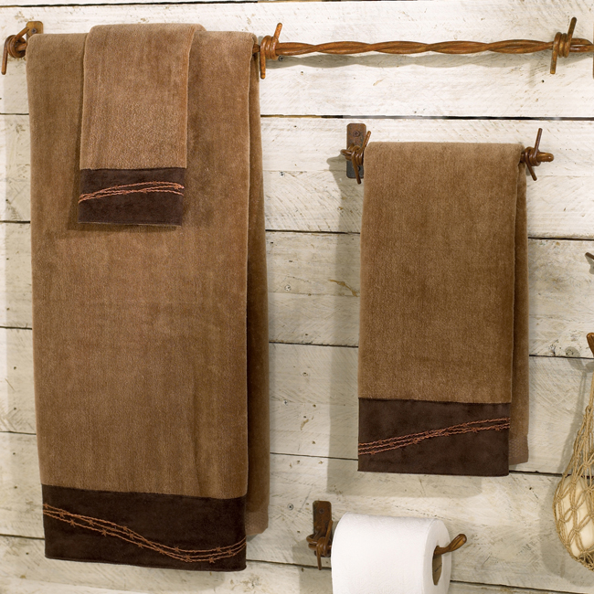 rustic bathroom sets barbwire rustic towel set mocha lodge bathroom decor 14293