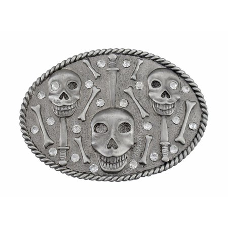 Pewter Grinning Skulls & Bones Rhinestone Belt Buckle