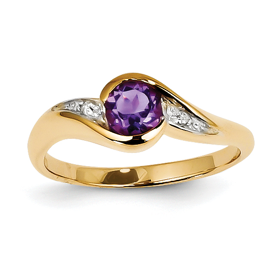 14k Diamond and Amethyst Round Ring by CoutureJewelers