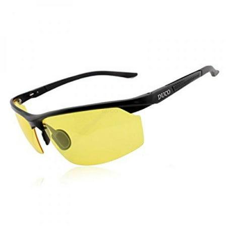 duco - duco anti-glare night-vision glasses, silver frame, yellow -  walmart com