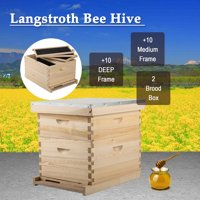 10 Deep Frame & 10 Medium Frame w/ 2 Brood Boxes Hive Frame/Bee Hive Frame/Beehive Frames w/ Metal Roof for Beekeeping