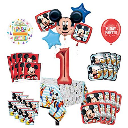 Mayflower Products Mickey Mouse and Friends 1st Birthday Party Supplies 8 Guest Decoration Kit and Balloon Bouquet](Mickey Mouse Halloween Party Birthday Invitations First)