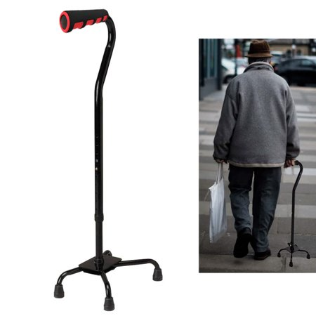 Quad Cane Walking Stick Lightweight Adjustable Right Left Hand Grip Support