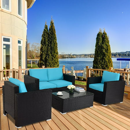 Gymax 4PC Rattan Patio Furniture Set Outdoor Wicker With Blue Cushion ()
