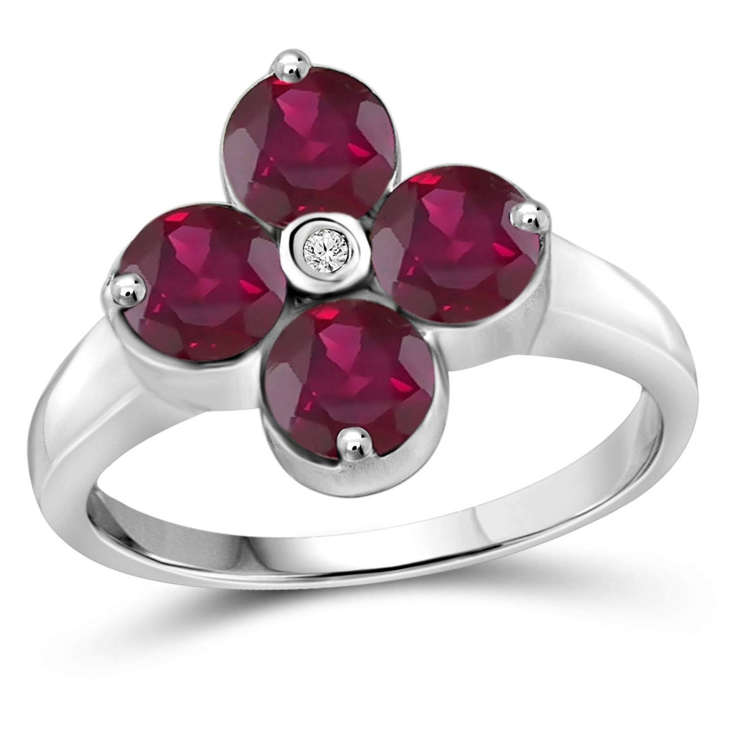 JewelersClub 2.72 Carat T.G.W. Ruby Gemstone and White Diamond Accent Sterling Silver Ring by JewelersClub