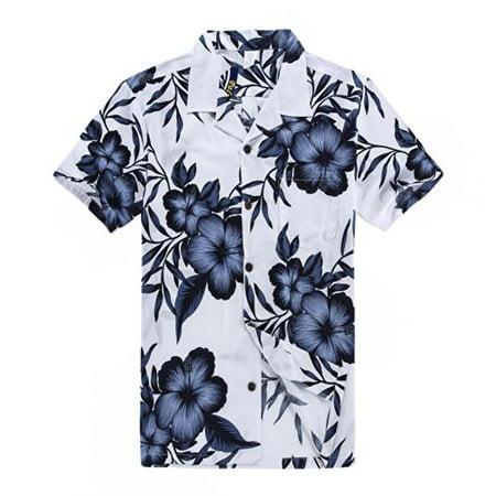 Palm Wave Men's Hawaiian Shirt Aloha Shirt 2XL White with Navy ...