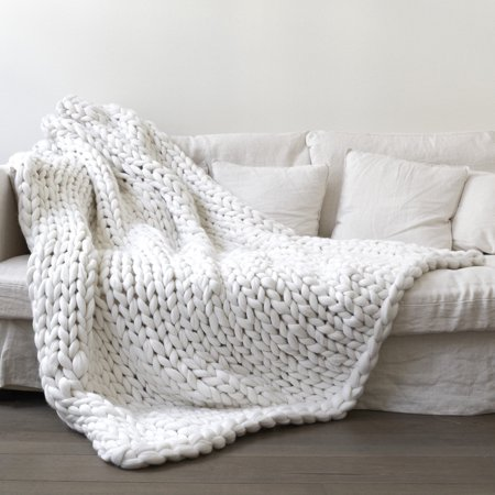 4 Sizes Hand-woven Bulky Soft Chunky Knit Bedding Blanket Thick Yarn Knitted Sofa Throw Rug - 3 Colors