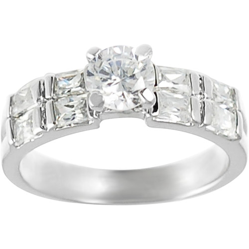 Alexandria Collection Sterling Silver Round and Emerald-Cut Cubic Zirconia Engagement Ring