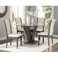 Roundhill Kecco Grey 5-Piece Glass Top Dining Set, Table with 4 Chairs