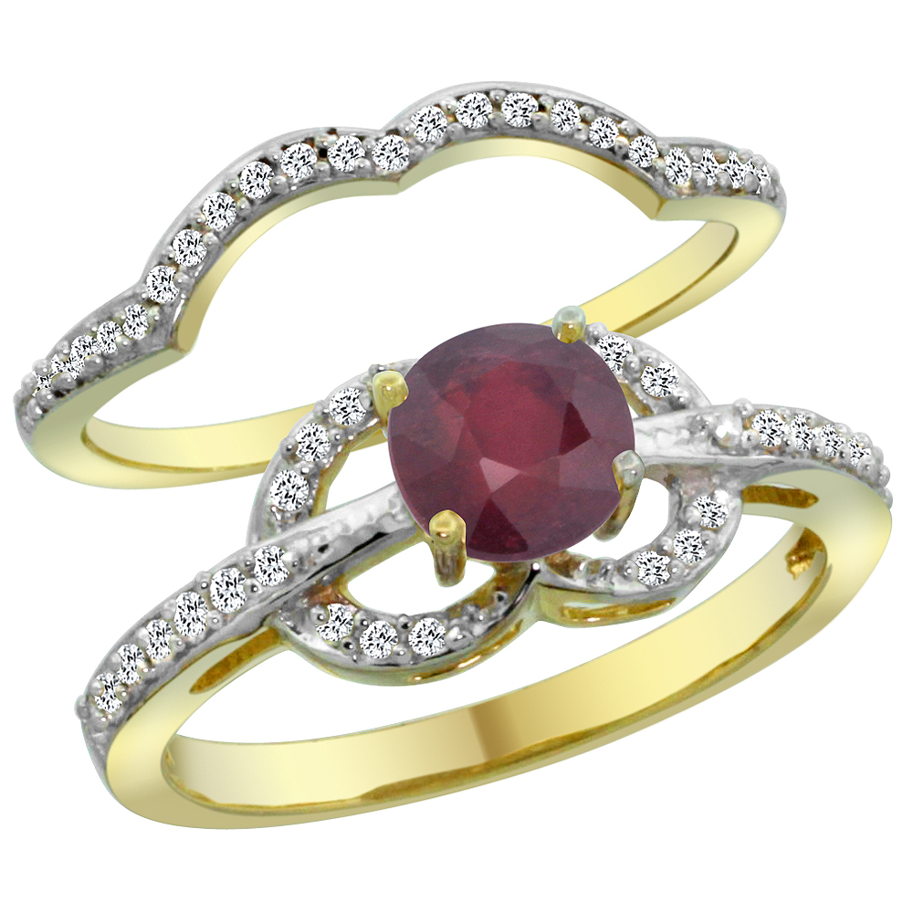 14K Yellow Gold Natural Enhanced Ruby 2-piece Engagement Ring Set Round 6mm, size 5.5 by Gabriella Gold