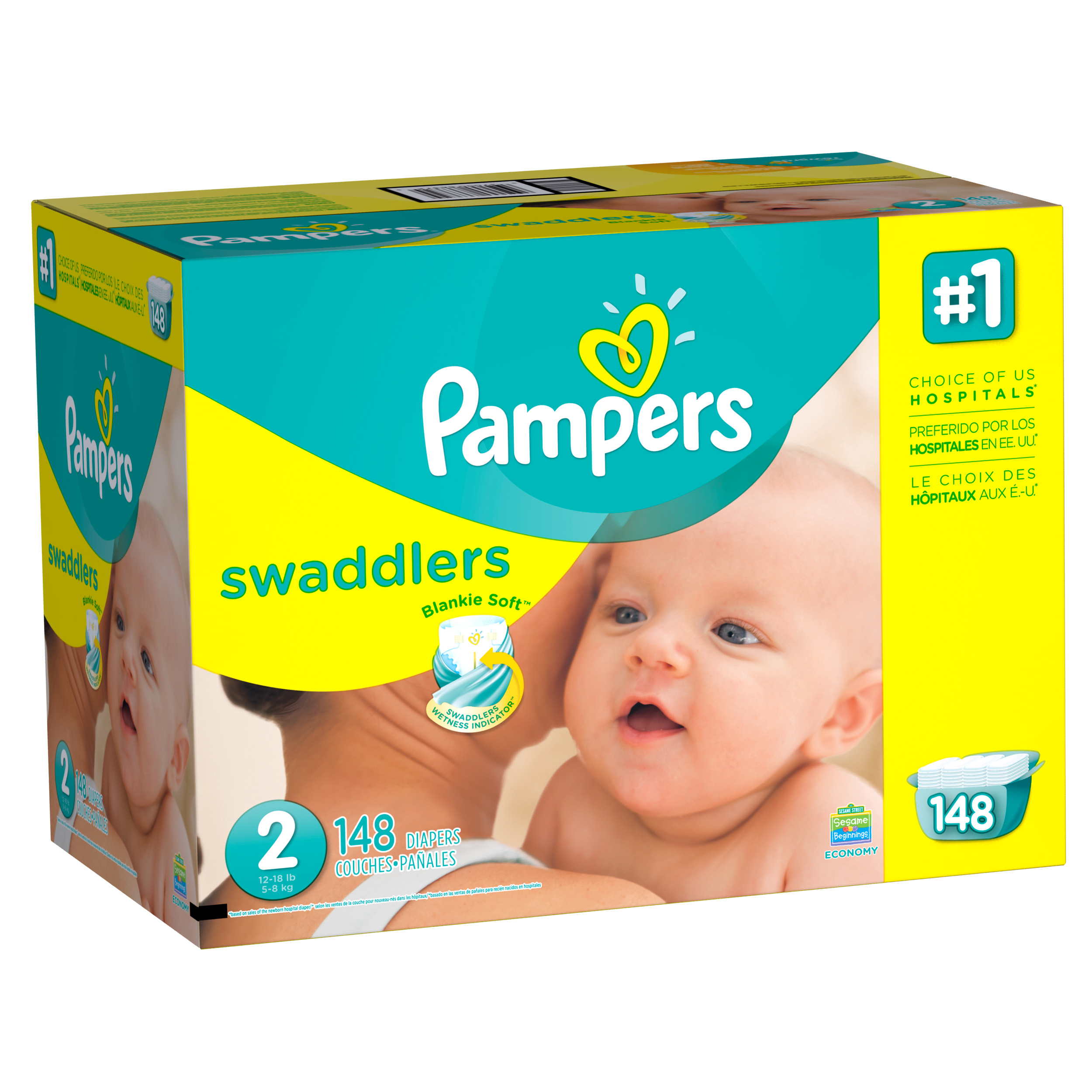 Pampers Swaddlers Diapers, Size 2, 148 Diapers