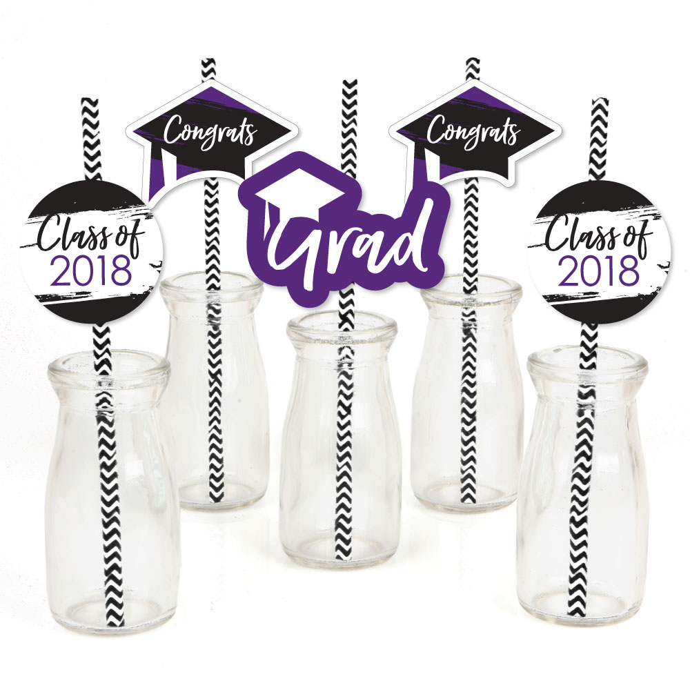 Purple Grad - Best is Yet to Come - Paper Straw Decor -  Graduation Striped Decorative Straws -Set of 24