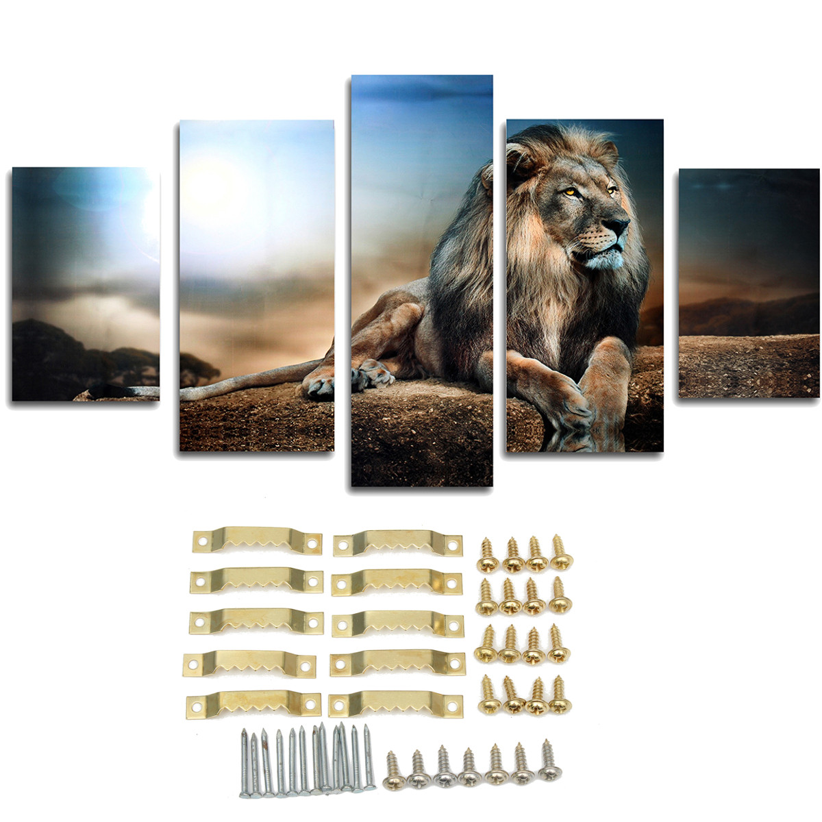 5Pcs/set Modern Abstract Sitting Lion Canvas Oil Painting Picture Print Home Wall Art Decoration Present Gift