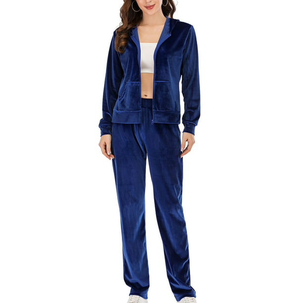 Sayfut Women S Plus Size Athleisure Velour Tracksuit Yoga Jogger Pant And Sport Outfits Hoodie Sweatshirt Coats Velour Sweat Suits 2 Piece Sets S 2xl Purple Blue Walmart Com Walmart Com