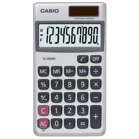 Casio SL-310SV Ultra Thin 10-Digit Wallet Size (Silver Coin Calculator)