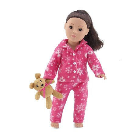 18 Inch Doll Clothes  Cozy Bright Pink and White Snowflake Print 2 Piece Classic Pajama Outfit with Teddy Bear   Fits American Girl Dolls