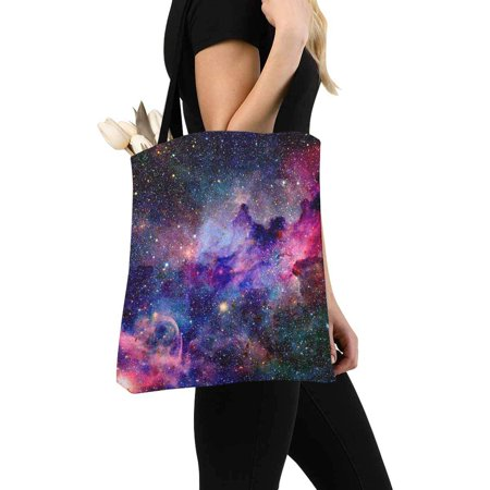 HATIART Nebula Galaxy in Outer Space Canvas Tote Bag Resuable Grocery Bags Shopping Bags Perfect for Crafting Decorating for Women Men Kids - image 2 de 3
