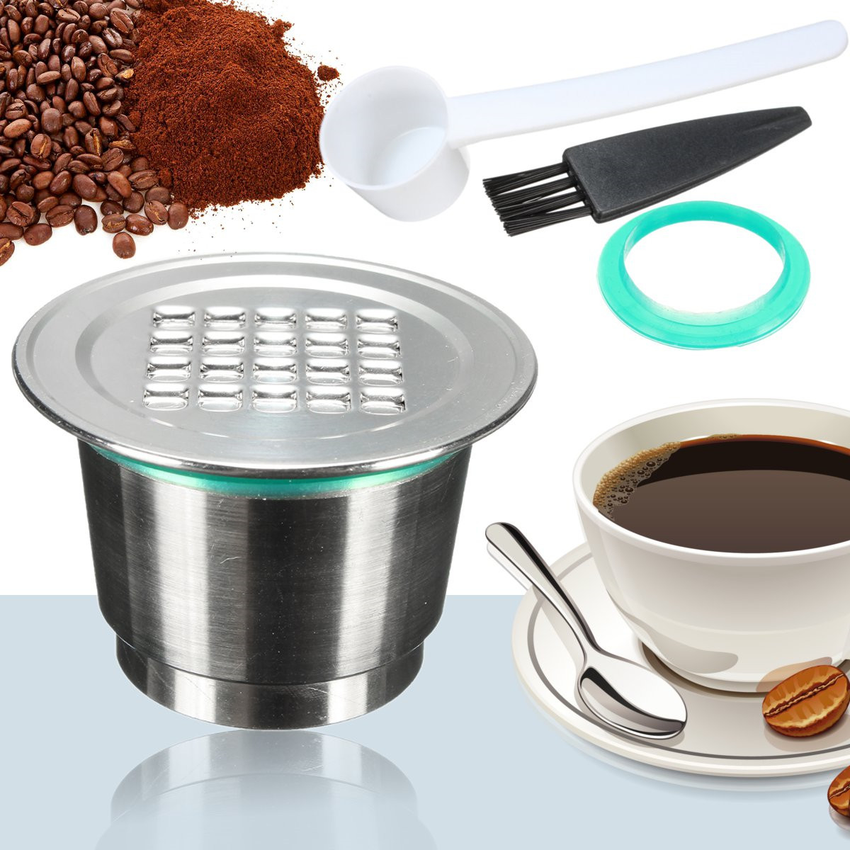 Reusable Refillable Stainless Steel Coffee Capsule with Spoon For Nespresso Machine New
