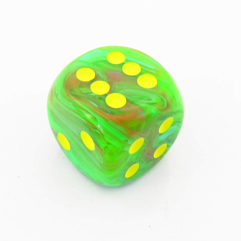 Slime Yellow Vortex Die with Gold Pips D6 30mm (1.18in) Pack of 1 Chessex