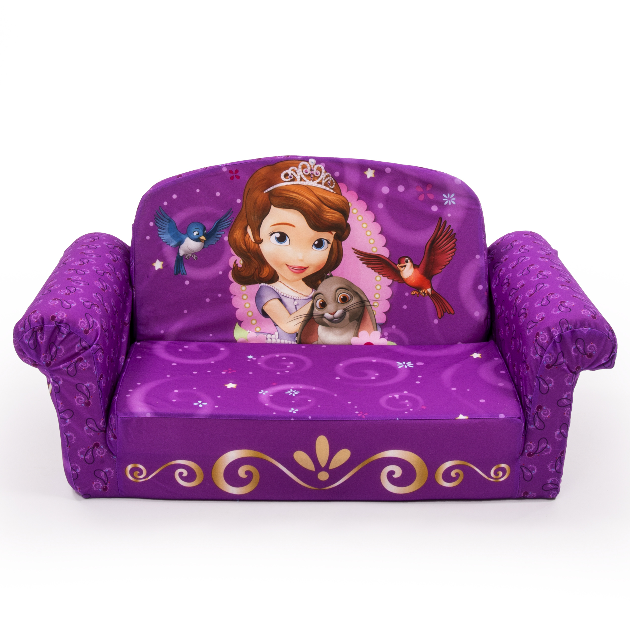 Marshmallow Furniture, Children's 2 in 1 Flip Open Foam Sofa, Disney's Sofia the First, by Spin Master