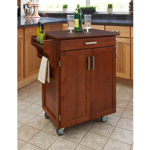Home Styles Cuisine Cart, Warm Oak with Cherry Top