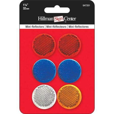 Hillman Group 847201 1.5 in. Mini Circle Reflector Pack   - 12 per Pack 12 Piece ()