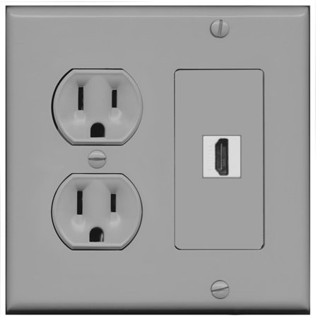 RiteAV (2 Gang Decorative) 15 Amp Round Power Outlet HDMI TV Wall Plate -