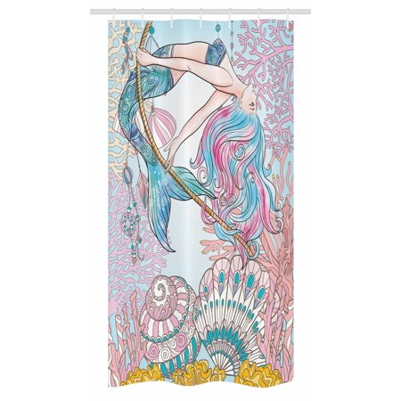 Mermaid Stall Shower Curtain, Cartoon Mermaid in Sea Sirens of Greek Myth Female Human with Tail of Fish Image, Fabric Bathroom Set with Hooks, 36W X 72L Inches Long, Pink Blue, by Ambesonne (Geek Shower Curtain)