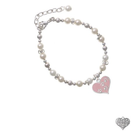 - Pink Enamel Heart with Paw Prints Imitation Pearl Beaded Bracelet