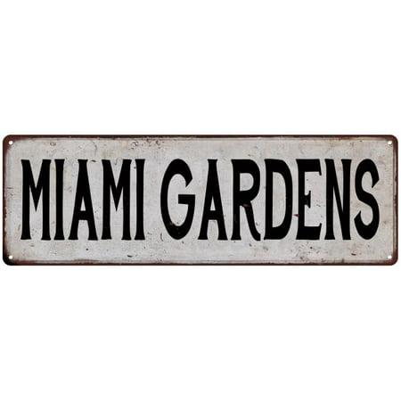 Party City In Miami Gardens (MIAMI GARDENS Vintage Look Rustic Metal Sign Chic City State Retro)