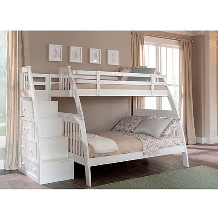 Sauder Ridgeline Twin Over Full Bunk Bed Built Stairs Drawers White