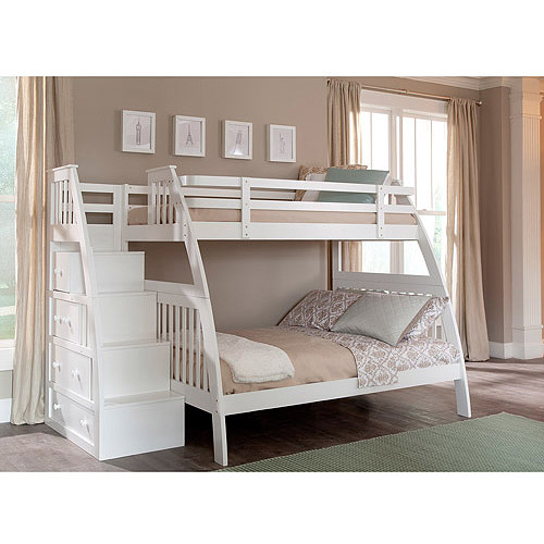 Superior Canwood Ridgeline Twin Over Full Bunk Bed With Built In Stairs Drawers,  White