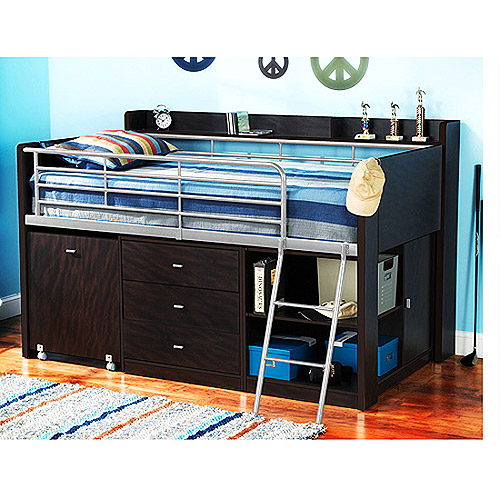 Charleston Storage Loft Bed with Desk Espresso Walmart