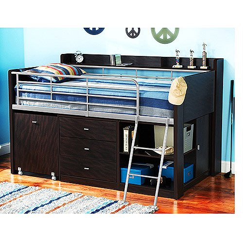 Charleston Storage Loft Bed With Desk Espresso Walmart Com Walmart Com