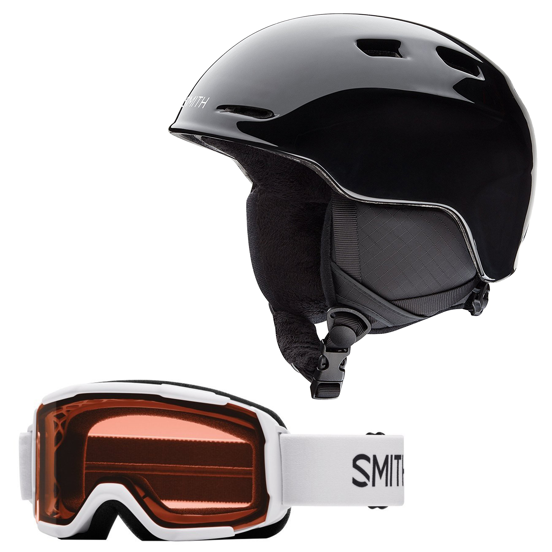 Smith Zoom Jr. Snow Helmet (Black, Small) with White Frame Daredevil Goggles by Smith Optics