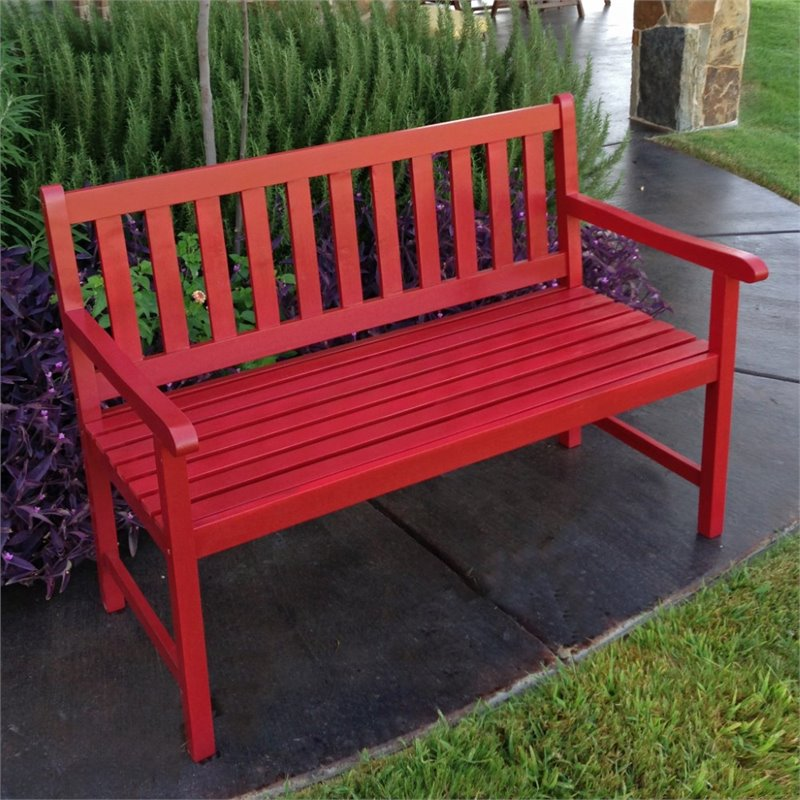 Pemberly Row Patio Garden Bench in Red