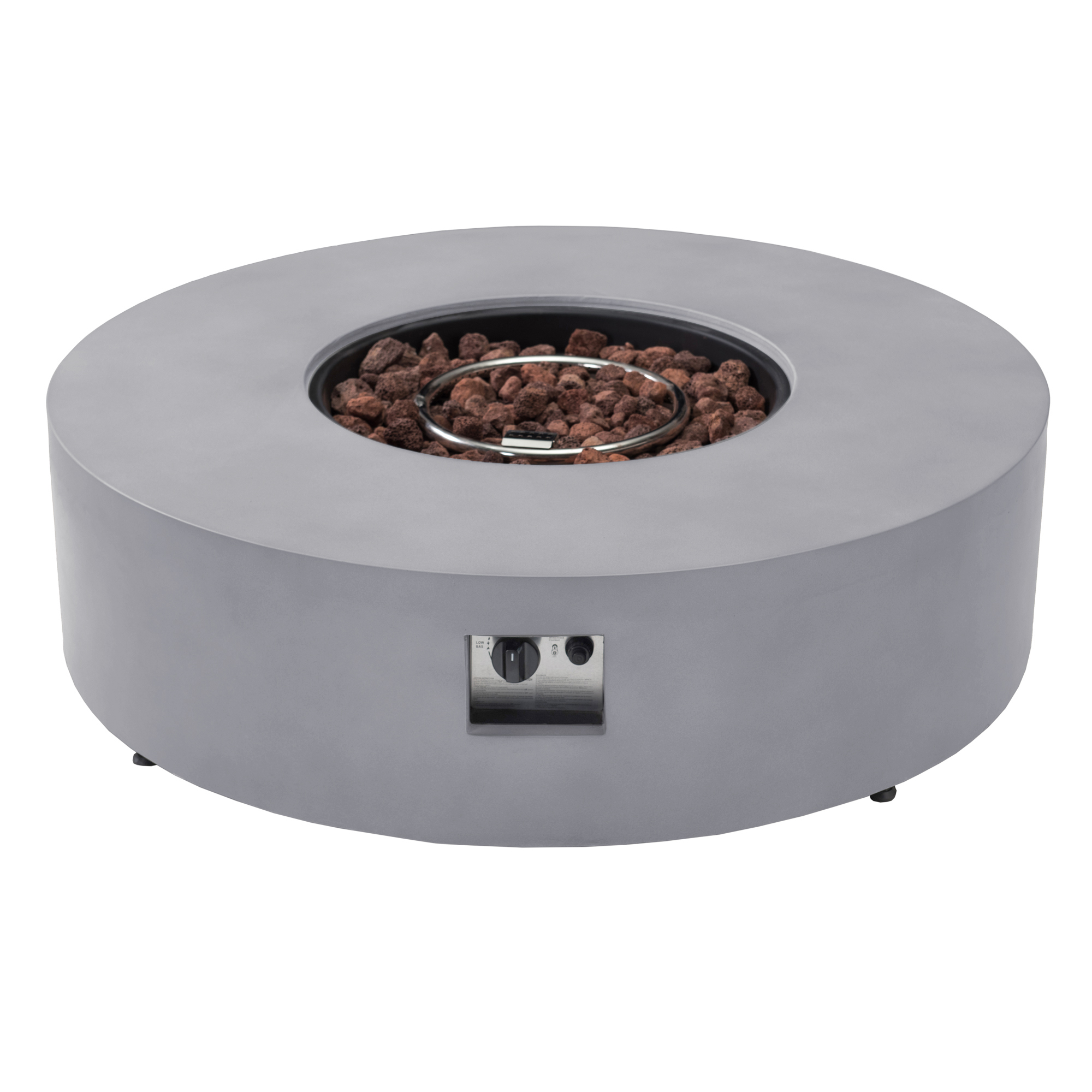 Sunjoy Marin Light Gray 42-inch Round Concrete Propane Powered Firepit