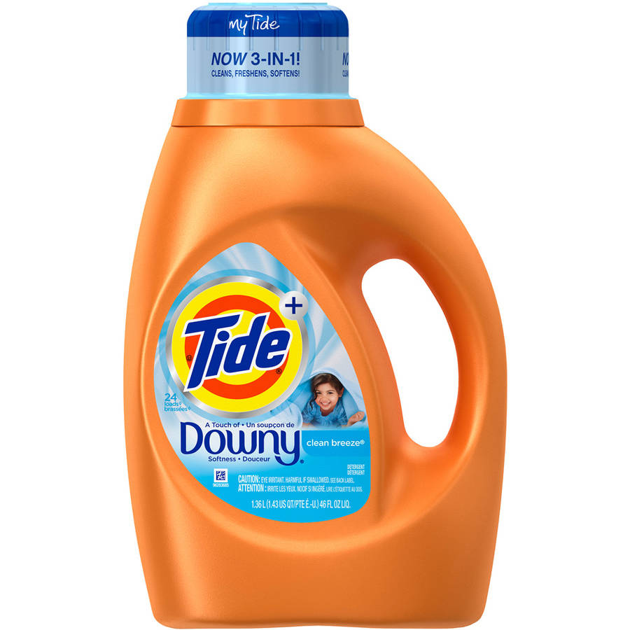 Tide Plus a Touch of Downy Clean Breeze Scent Liquid Laundry Detergent, 46 fl oz