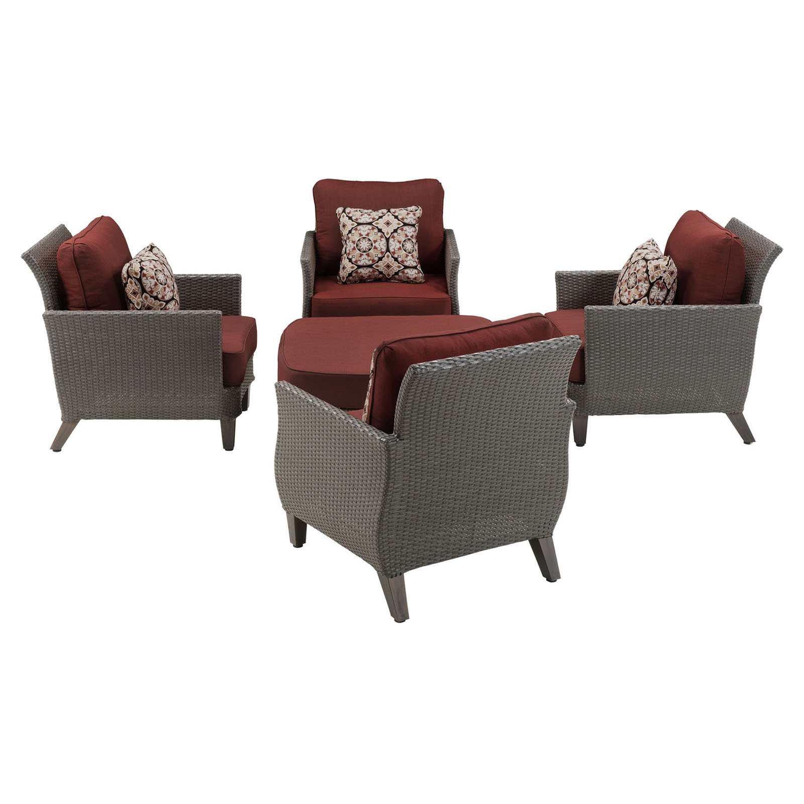 Hanover Savannah 5 Piece Wicker Patio Chat Set