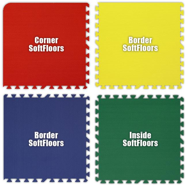 Alessco SFRYBG0618 SoftFloors -Red- Yellow- Blue- Green -6  x 18  Set