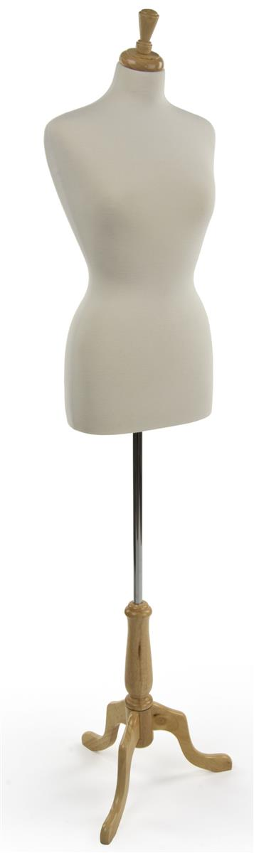 Displays2go Jersey Covered Female Mannequin Tabletop Dress Form White