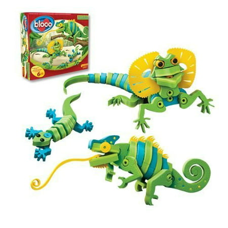 Bloco Toys Lizards & Chameleons | STEM Toy | Gecko, Reptiles Creatures | DIY Building Construction Set (192 Pieces) - Reptile Toys