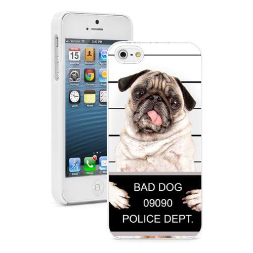 Apple iPhone (6 Plus / 6s Plus) Hard Back Case Cover Bad Pug Dog Puppy Mug Shot (White)