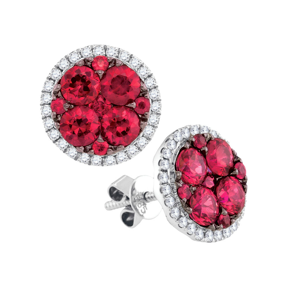 Solid 14k White Gold Round Red Simulated Ruby And White Diamond Flower Halo Prong Set Stud Earrings (2.88 cttw) by AA Jewels