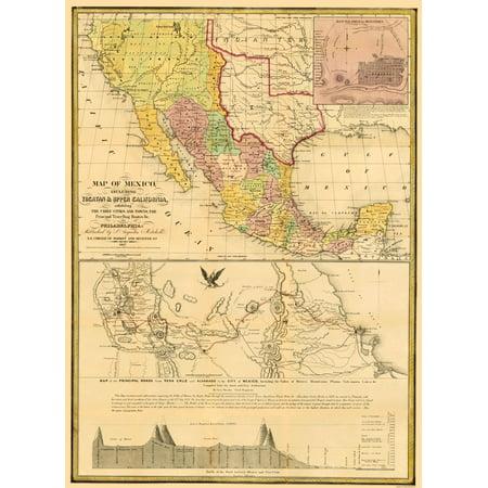 Old North America Map Mexico Yucatan And Upper California 1847