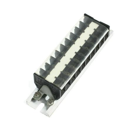 Unique Bargains 660V 15A 10 Position Aluminum DIN Rail Base Screw Terminal Barrier Strip